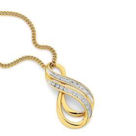 9ct-Gold-Diamond-Double-Swirl-Pendant on sale