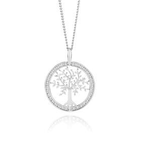 9ct-White-Gold-Diamond-Tree-of-Life-Pendant on sale