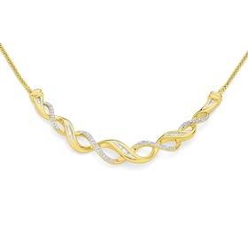 9ct-Gold-Diamond-Twist-Necklace on sale