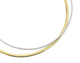 9ct-Gold-Two-Tone-42cm-Diamond-Cut-Omega-Necklet on sale