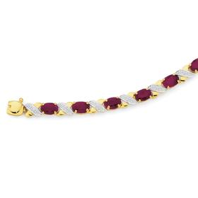 9ct-Gold-Ruby-Diamond-Bracelet on sale