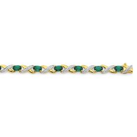 9ct-Gold-Created-Emerald-Diamond-Bracelet on sale