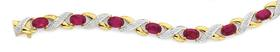 9ct-Gold-Created-Ruby-Diamond-Bracelet on sale