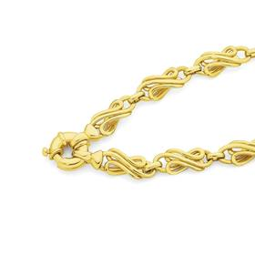 9ct-Gold-19cm-Solid-Fancy-Link-Bracelet on sale
