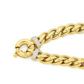 9ct-Gold-20cm-Weave-Diamond-End-Bolt-Ring-Bracelet on sale
