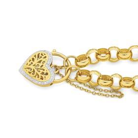 9ct-Gold-19cm-Engraved-Belcher-CZ-Heart-Padlock-Bracelet on sale