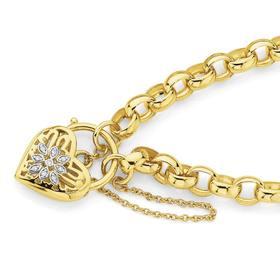 9ct-Gold-19cm-Belcher-Diamond-Set-Filigree-Heart-Bracelet on sale