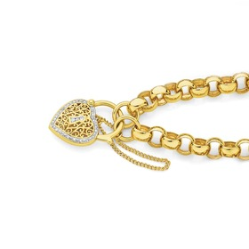 9ct-Gold-19cm-Belcher-Diamond-Padlock-Bracelet on sale