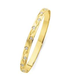 9ct-Gold-Two-Tone-6x65mm-Solid-Flower-Engraved-Bangle on sale