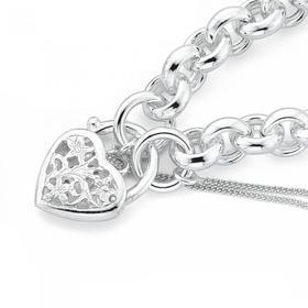 Sterling-Silver-Belcher-Filigree-Padlock-Bracelet on sale