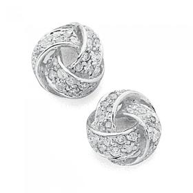 Sterling-Silver-Cubic-Zirconia-Knot-Studs on sale