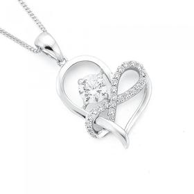 Sterling-Silver-CZ-Infinity-Solitaire-CZ-Heart-Pendant on sale