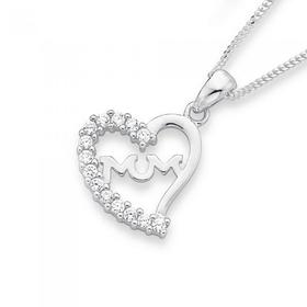 Sterling-Silver-Cubic-Zirconia-Mum-Heart-Pendant on sale