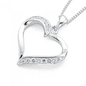 Sterling-Silver-Cubic-Zirconia-Heart-Pendant on sale