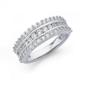 Sterling-Silver-Cubic-Zirconia-Three-Row-Dress-Ring on sale