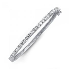 Sterling-Silver-Cubic-Zirconia-Claw-Set-Hinge-Bangle on sale