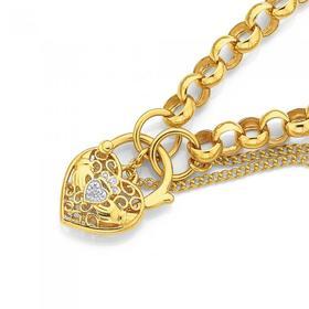 9ct-Gold-19cm-Solid-Belcher-Diamond-Claddagh-Padlock-Bracelet on sale