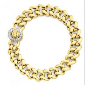 9ct-Gold-19cm-Solid-Diamond-Set-Turn-Lock-Bracelet on sale