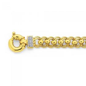 Solid-9ct-Gold-19cm-Double-Rollo-Bracelet-with-Bolt-Ring-and-Diamond-Accents on sale