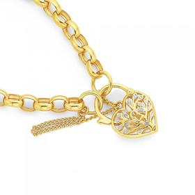 9ct-Gold-19cm-Diamond-Tree-of-Life-Padlock-Bracelet on sale