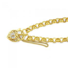 9ct-Gold-19cm-Belcher-Infinity-Diamond-Padlock-Bracelet on sale