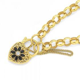 9ct-Gold-19cm-Belcher-Sapphire-Diamond-Bracelet on sale