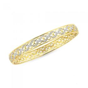 9ct-Gold-Two-Tone-8x65mm-Diamond-Cut-Bangle on sale