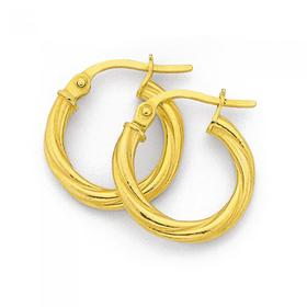 9ct-Gold-10mm-Twist-Hoop-Earrings on sale