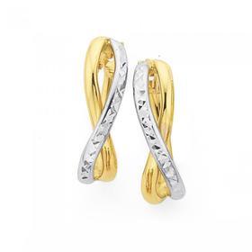 9ct-Gold-Two-Tone-Diamond-Cut-Double-X-Over-Oval-Hoop-Earrings on sale