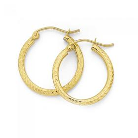 9ct-Gold-15mm-Diamond-Cut-Hoops on sale