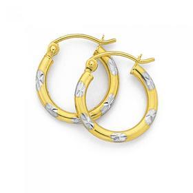 9ct-Gold-Two-Tone-Small-Diamond-Cut-Hoop-Earrings on sale