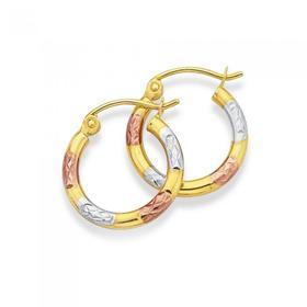 9ct-Gold-Tri-Tone-10mm-Hoop-Earrings on sale