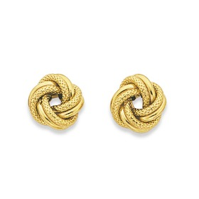 9ct-Gold-Polished-Pattern-Knot-Stud-Earrings on sale