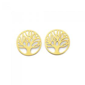 9ct-Gold-Tree-of-Life-Disc-Stud-Earrings on sale