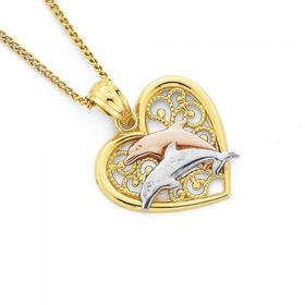 9ct-Gold-Tri-Tone-Dolphin-Heart-Pendant on sale