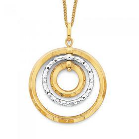 9ct-Gold-Two-Tone-Triple-Circle-Pendant on sale