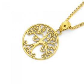 9ct-Gold-Filigree-Tree-of-Life-Pendant on sale