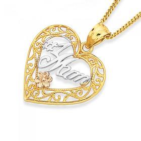 9ct-Gold-Tri-Tone-1-Mum-Filigree-Heart-Pendant on sale