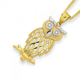 9ct-Gold-Two-Tone-Large-Owl-Pendant on sale