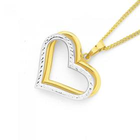 9ct-Gold-Two-Tone-Diamond-Cut-Heart-Pendant on sale