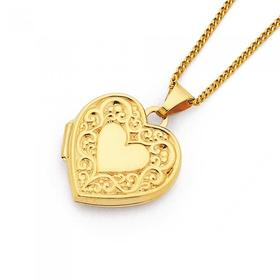 9ct-Gold-Embossed-Heart-Locket on sale