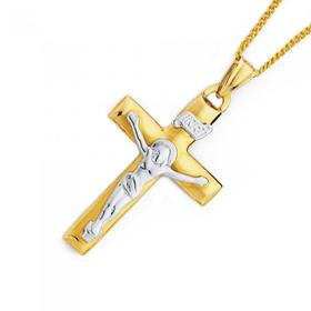 9ct-Gold-Two-Tone-Large-Crucifix-Pendant on sale