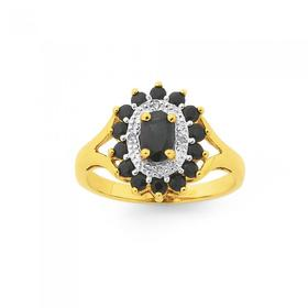 9ct-Gold-Natural-Sapphire-and-Diamond-Ring on sale