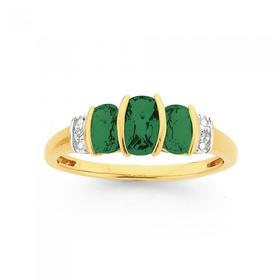 9ct-Gold-Created-Emerald-Diamond-Cushion-Trilogy-Ring on sale