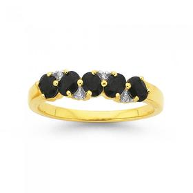 9ct-Gold-Black-Sapphire-Diamond-Anniversary-Band on sale