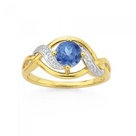 9ct-Gold-Created-Sapphire-and-Diamond-Ring on sale