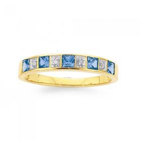9ct-Gold-Created-Sapphire-Diamond-Ring on sale