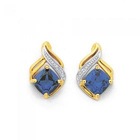 9ct-Gold-Created-Ceylon-Sapphire-Diamond-Swirl-Earrings on sale