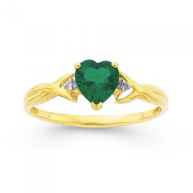 9ct-Gold-Created-Emerald-Diamond-Heart-Ring on sale