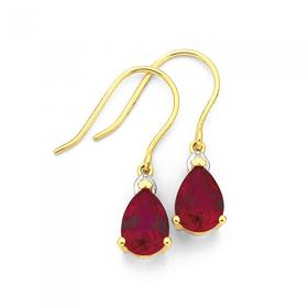 9ct-Gold-Created-Ruby-Diamond-Pear-Earrings on sale